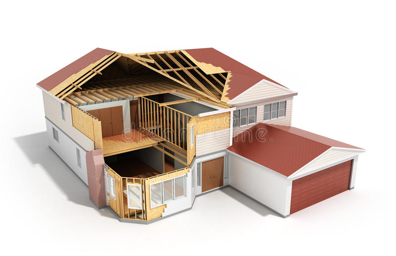 Build House Three-dimensional image 3d render on white background royalty free illustration