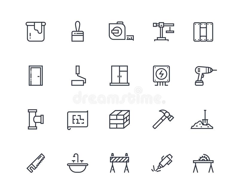 Build line icons. Home construction materials, digging and painting repair. Maintenance and building outline pictograms royalty free illustration
