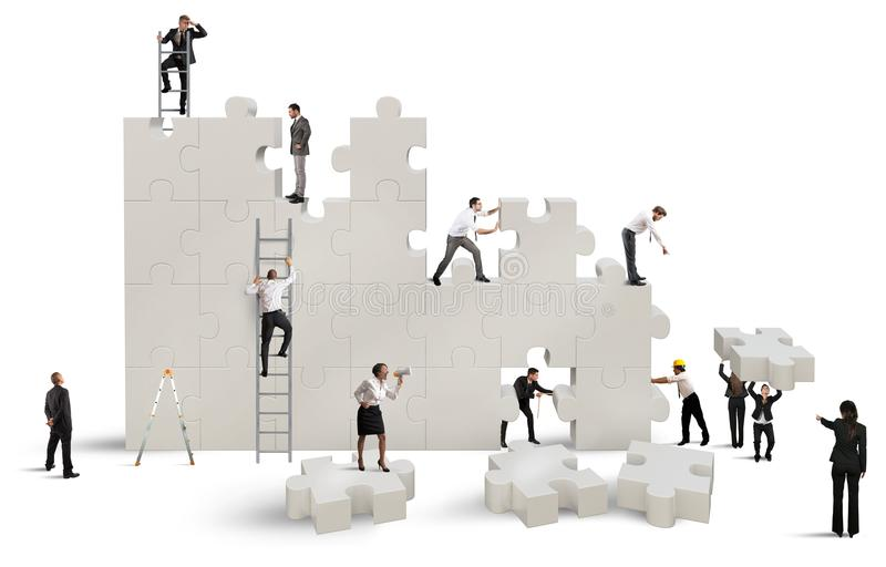Build a new company. Business team Builds a new company with puzzle vector illustration