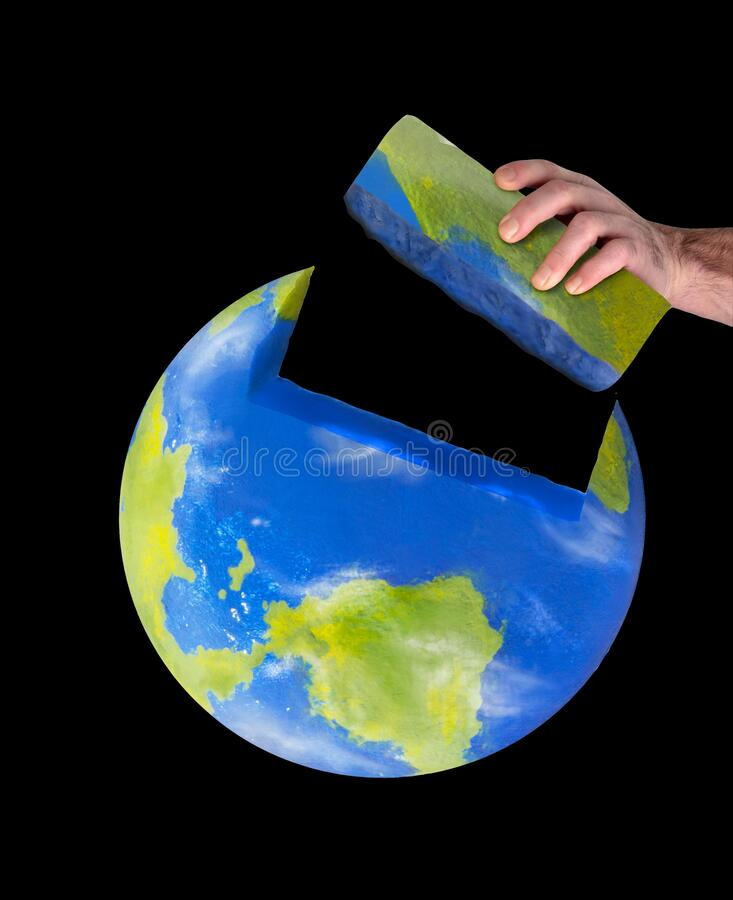 Build the planet earth on global construction concept. stock image