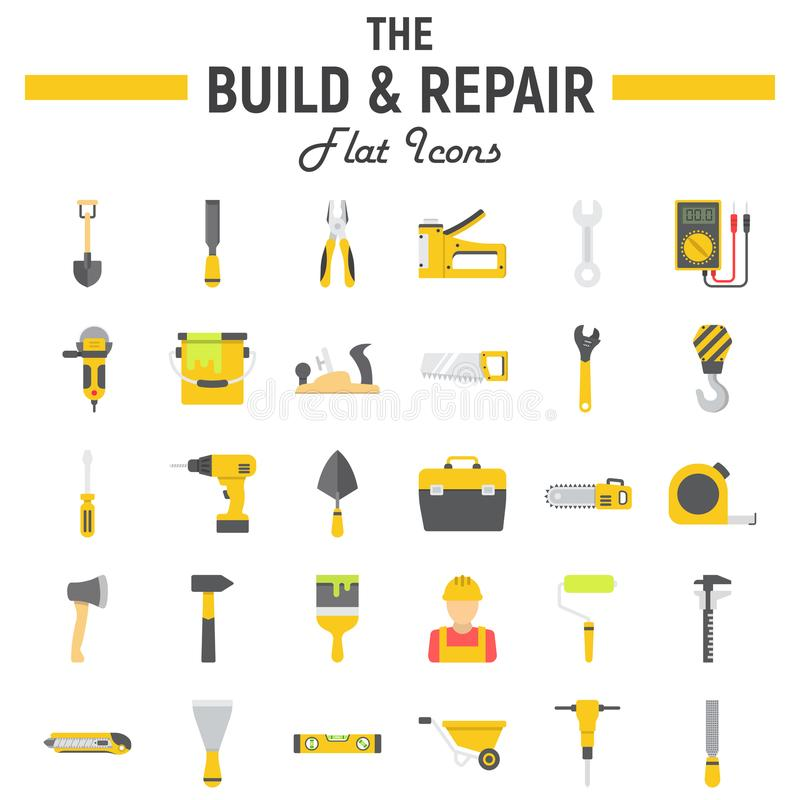 Build and Repair flat icon set, construction signs. Build and Repair flat icon set, construction symbols collection, vector sketches, logo illustrations, tools royalty free illustration