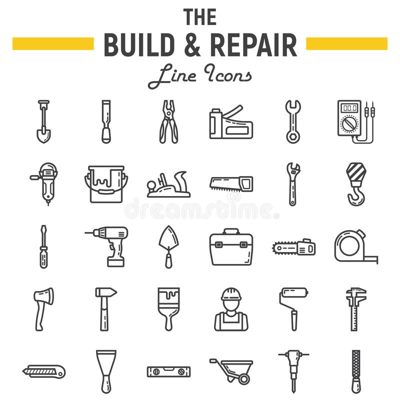 Build and Repair line icon set, construction signs. Build and Repair line icon set, construction symbols collection, vector sketches, logo illustrations, tools royalty free illustration