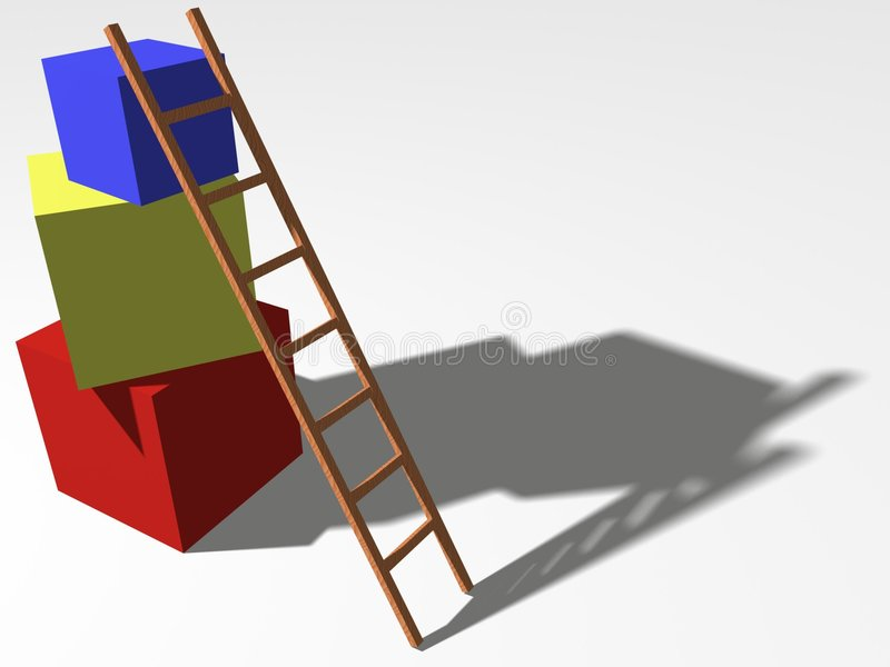 Build up - concept. Concept of building up or progress of a business rendered from a simple 3d model containing a ladder and 3 cubes with different colour (red stock illustration