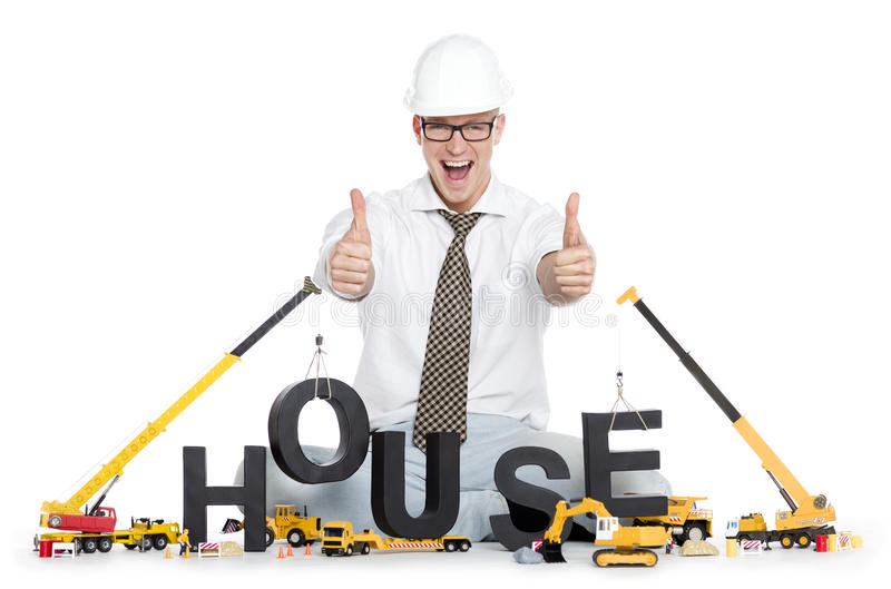 House Under Construction: Engineer Building House-word. Royalty ...