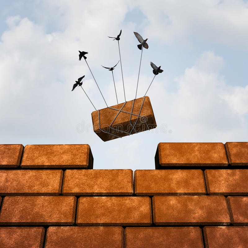 Build A Wall. Business concept as a group of birds placing a brick to complete a wall as a puzzle metaphor and working together symbol for creating a successful stock illustration