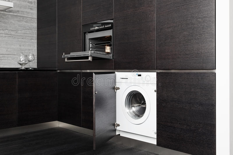 Download Build-in Washing Machine And Cooker On Kitchen Stock Image - Image: 26206631