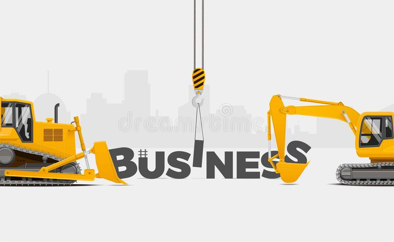 Business Creation themed banner, vector illustration. Building Business Concept. royalty free illustration