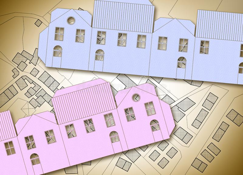 Build your own home - concept image with an origami paper house against a city map.  royalty free stock photo