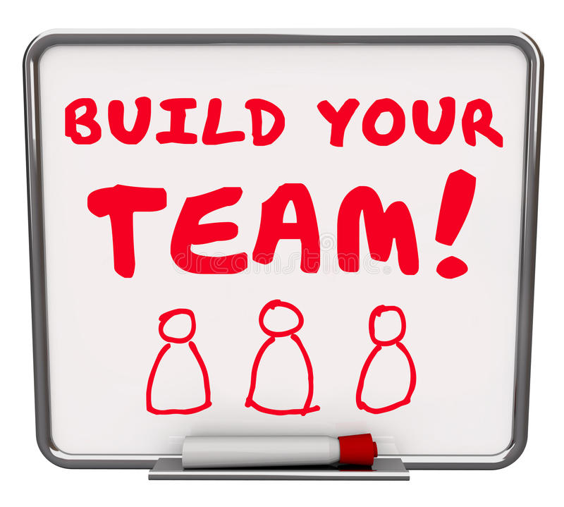 Build Your Team Workers Employees Common Goal Mission Words Boar vector illustration