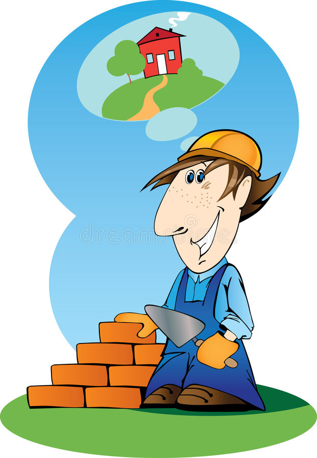 Builder. Builds a house of your dreams vector illustration