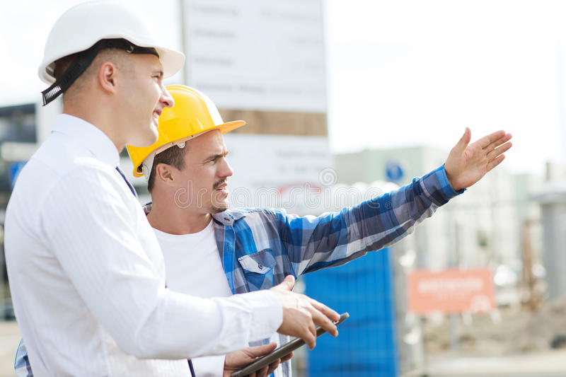Download Builder And Architect With Tablet Pc Outdoors Stock Photo   Image  Of Gadget, Direction