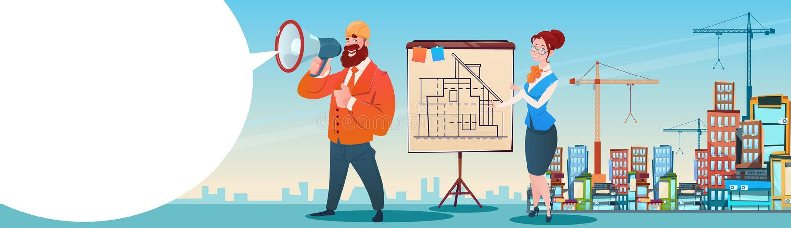 Builder Architect Workers Boss Hold Megaphone Present Architecture Drafting City Building Background royalty free illustration