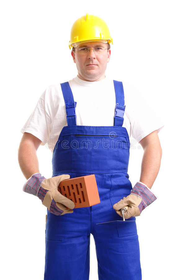 Builder with brick and trowel