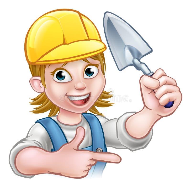 Builder Bricklayer Construction Worker Trowel Tool vector illustration