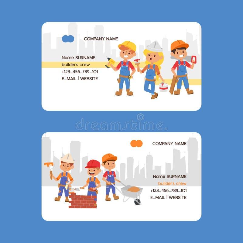 Builder business card vector constructor people character building construction business-card design illustration stock illustration