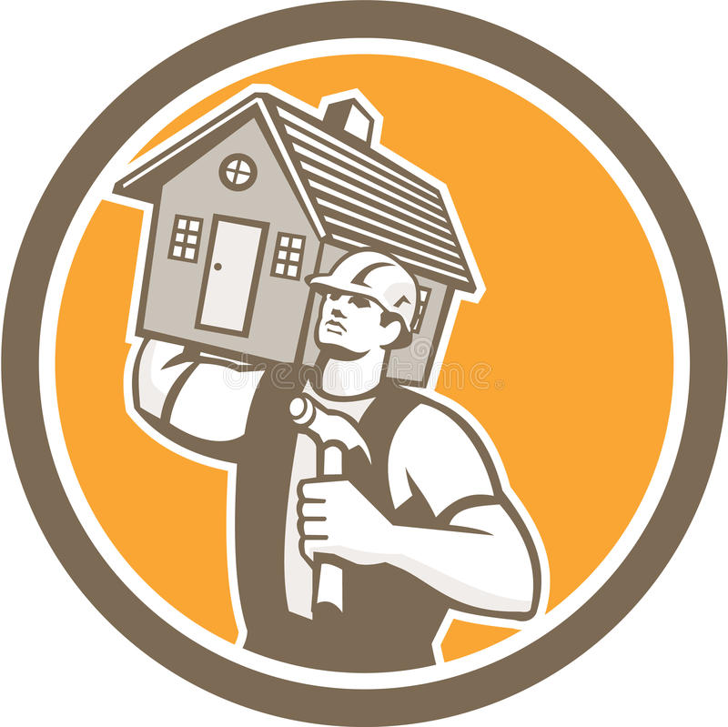 Builder Carpenter Carrying House Hammer Retro royalty free illustration