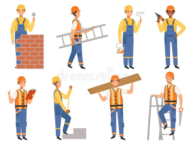Builder cartoon character. Funny mascots of engineer or constructor in various action pose vector people stock illustration