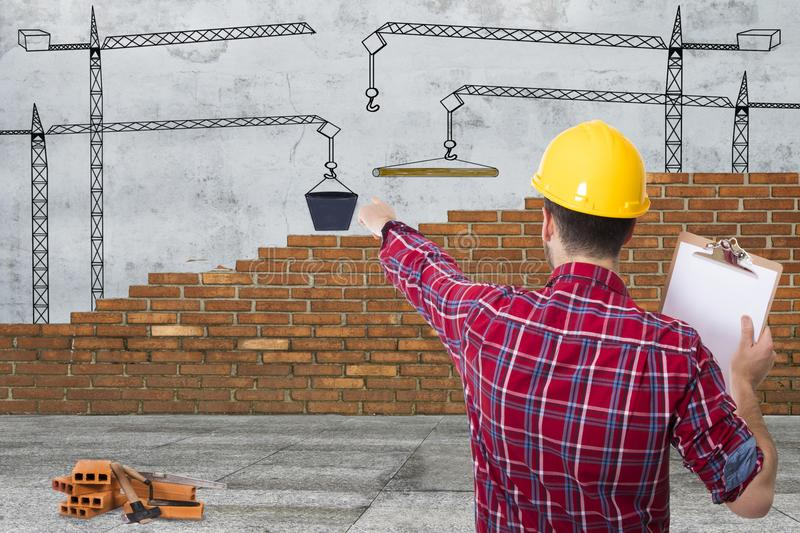 Builder and chief construction stock photography