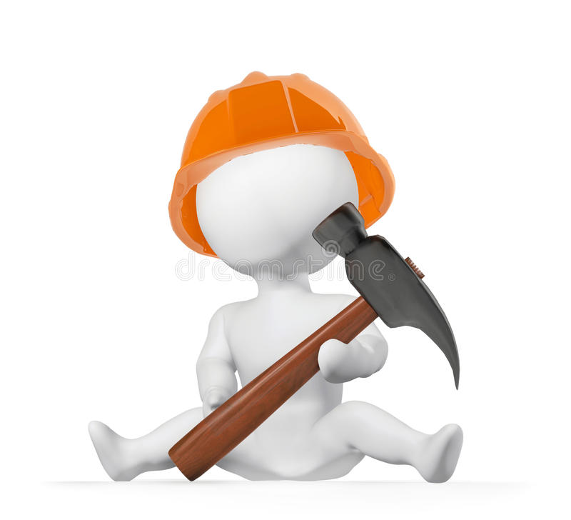 Builder. Child who wants to become a builder vector illustration