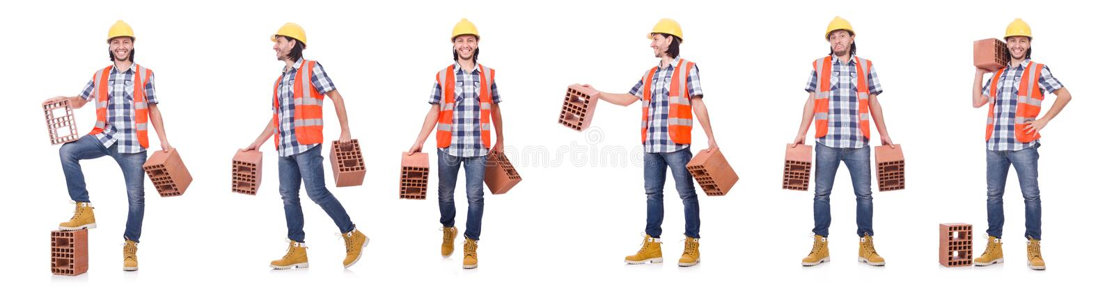 The builder with clay bricks isolated on white royalty free stock image