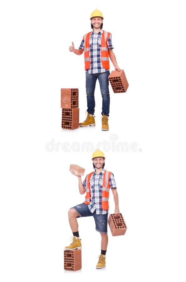 The builder with clay bricks isolated on white stock photo