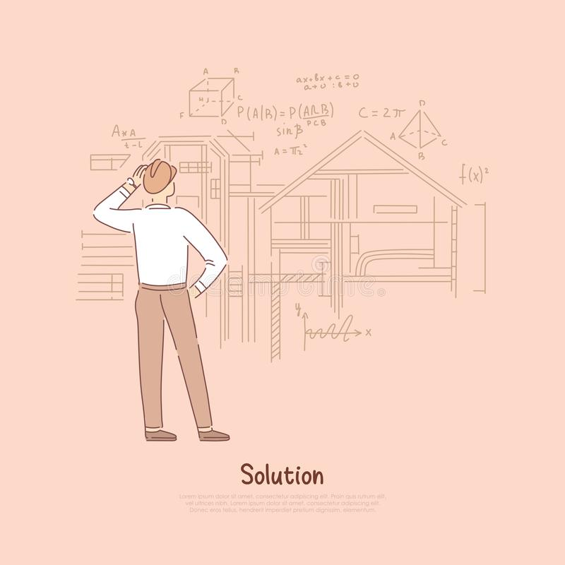 Builder considering engineering solution, architect calculating house, dwelling place construction banner. Engineer with geometry formulas on blueprint concept stock illustration