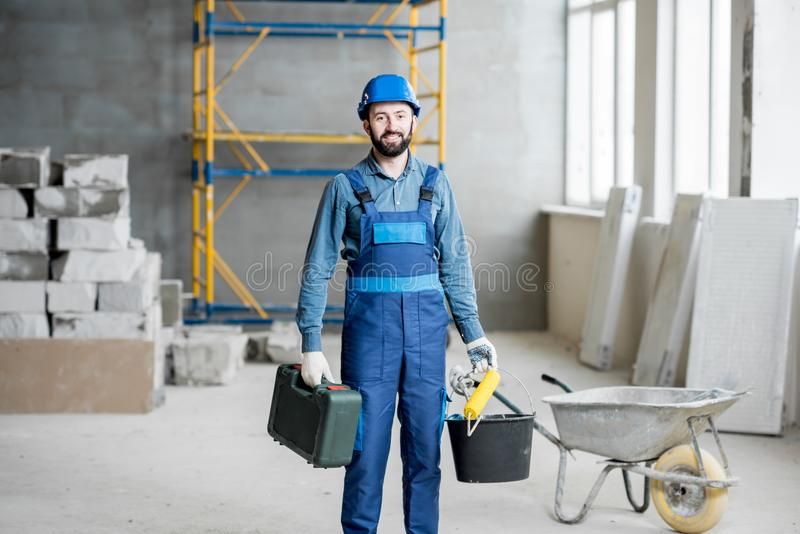 Builder at the construction site royalty free stock photography