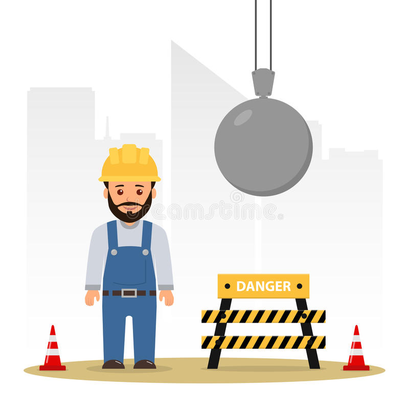 Builder at a construction site. Demolition of the building. Wrecking ball. Cartoon vector illustration danger on the construction site royalty free illustration