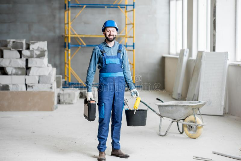 Builder at the construction site stock images