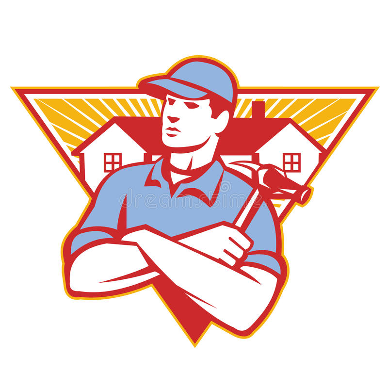 Builder Construction Worker Hammer House. Illustration of a builder construction worker with hammer arms crossed with house in background set inside triangle vector illustration