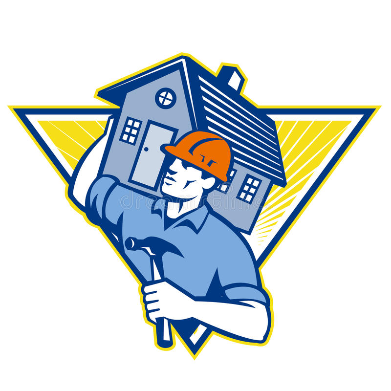 Builder Construction Worker Hammer House. Illustration of a builder construction worker with hammer carrying house on shoulders set inside triangle done in retro stock illustration
