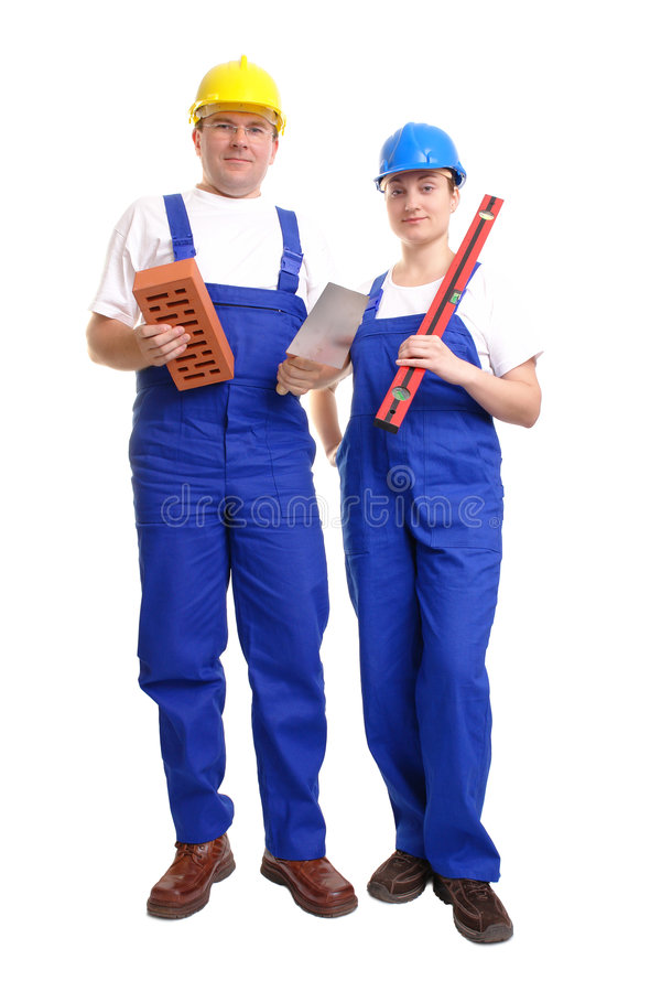 Builder couple royalty free stock photography
