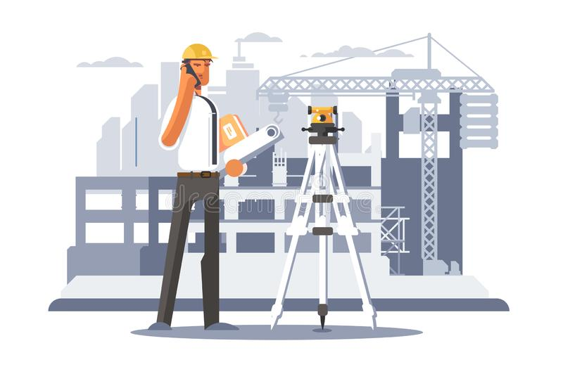 Builder engineer phone calling on construction. stock illustration
