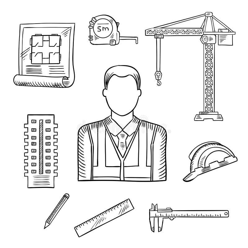Builder or engineer profession sketches vector illustration