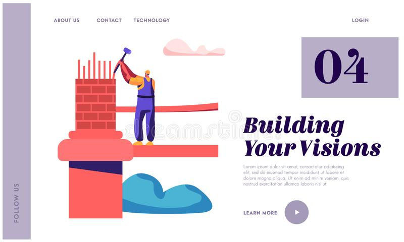 Builder Engineering Bridge with Brick and Hammer Landing Page. Architect Man Building Gate. Worker Engineer Construct royalty free illustration