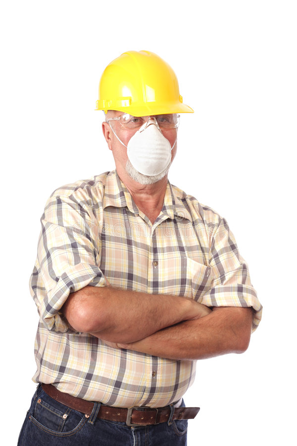 Builder in a face mask stock photo