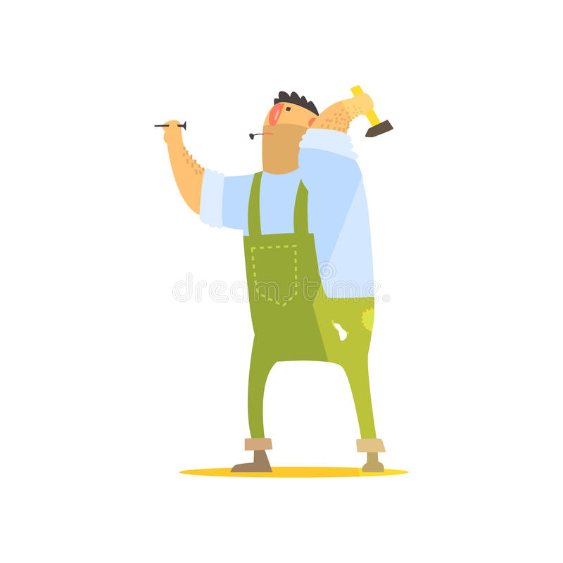 Builder With Hammer And Nails On Construction Site vector illustration