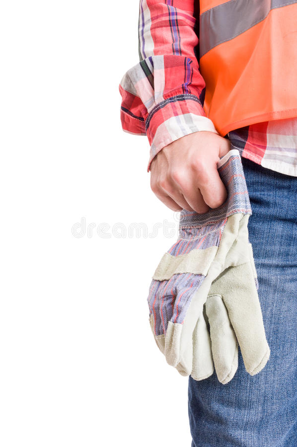 Builder hand holding work leather gloves stock images