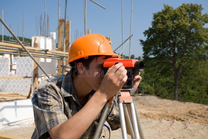 Builder & level royalty free stock photo
