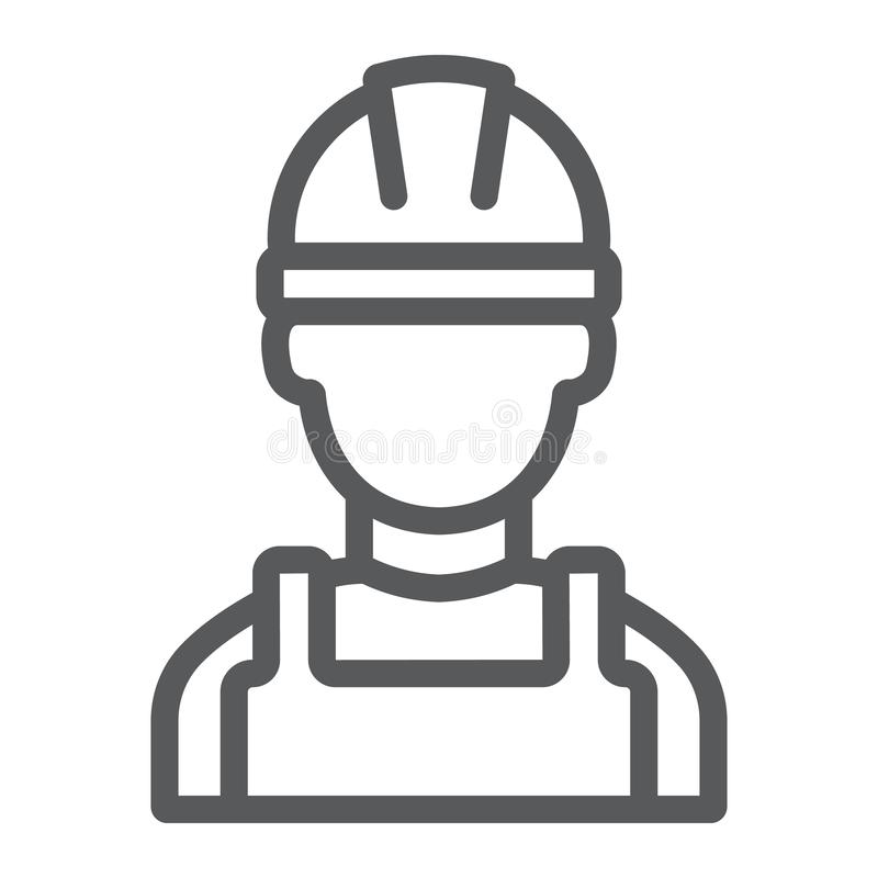 Builder line icon, engineer and man, construction worker sign, vector graphics, a linear pattern on a white background. royalty free illustration
