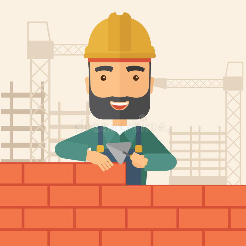 Download Builder Man Is Building A Brick Wall Stock Illustration