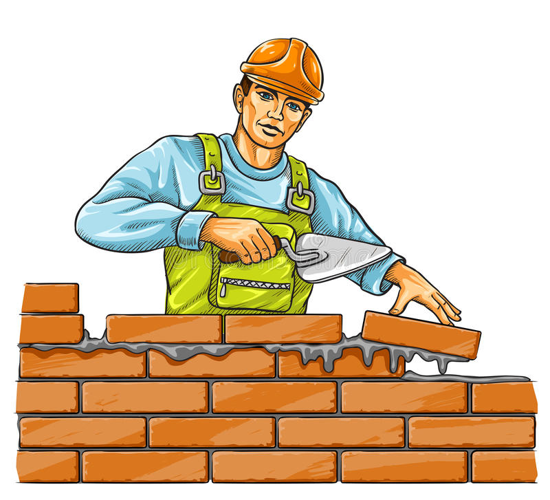 Builder man with derby tool building a brick wall. Illustration royalty free illustration