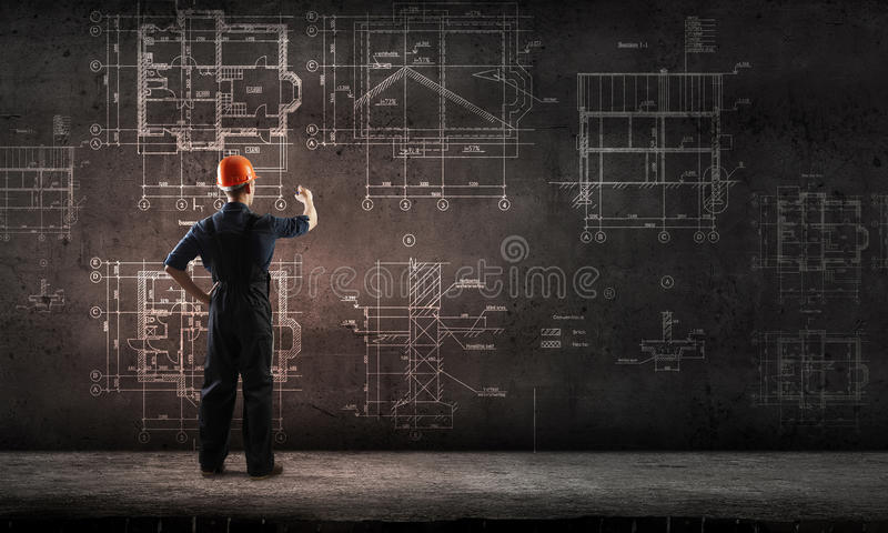 Builder man draw project royalty free stock images