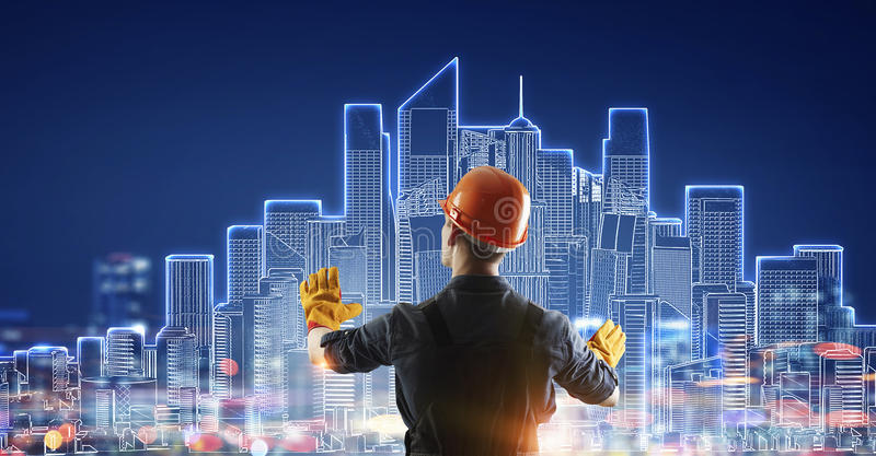 Builder man draw project . Mixed media stock photo