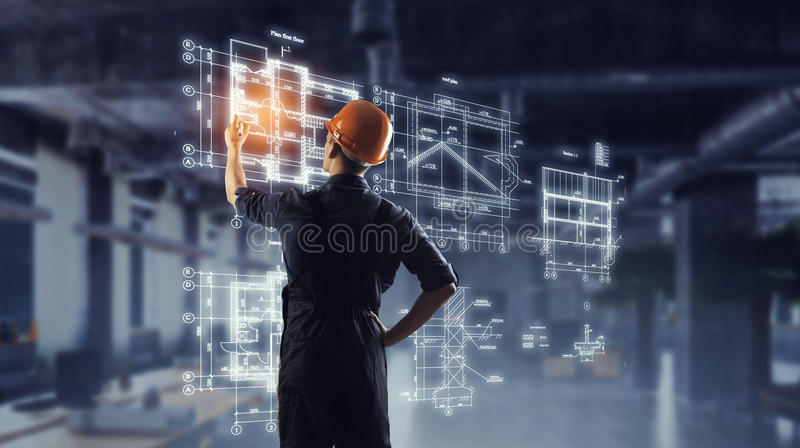 Builder man draw project . Mixed media royalty free stock photography