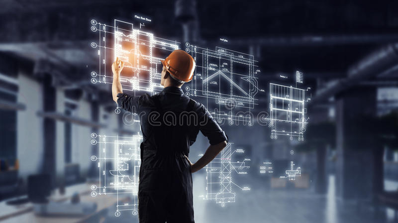 Builder man draw project . Mixed media royalty free stock photo