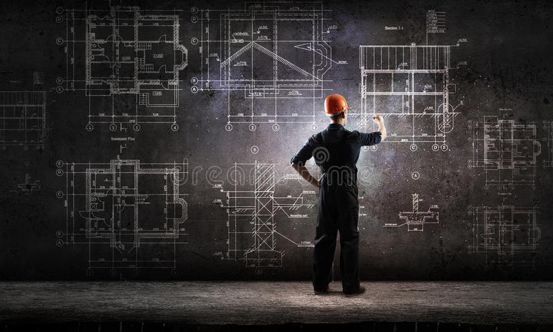 Builder man draw project stock images