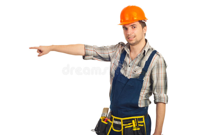 Builder Man Pointing To Copy Space Royalty Free Stock Photo