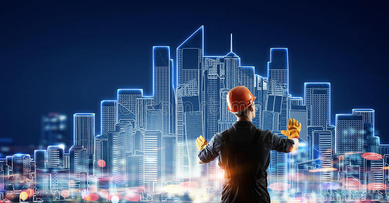 Builder man using media interface . Mixed media vector illustration
