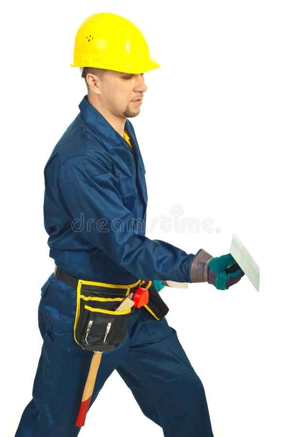 Builder man working with notched royalty free stock images